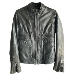 Zadig & Voltaire dark green leather jacket