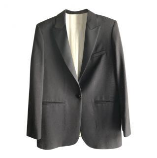 Masscob black wool blend blazer jacket