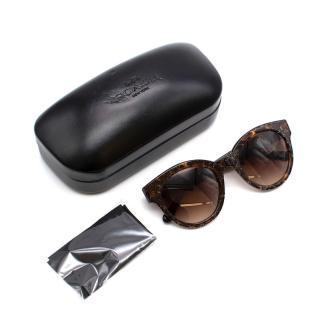 Coach Tortoiseshell Glitter Round Sunglasses