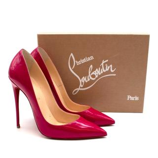 Christian Louboutin Pink Pigalle 120 Leather Patent Pumps