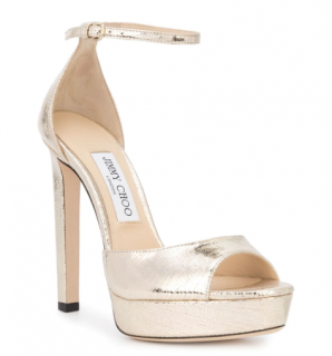 Jimmy Choo Pattie Gold Tone 130mm sandals
