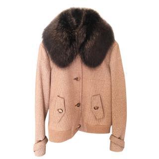 Loro Piana beige racoon & cashmere knit jacket