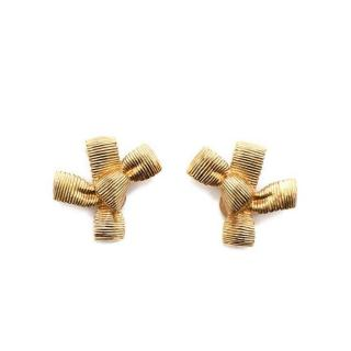 Dior Vintage Gold Bow Clip Earrings