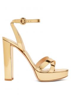 Gianvito Rossi Gold Poppy Platform Sandals