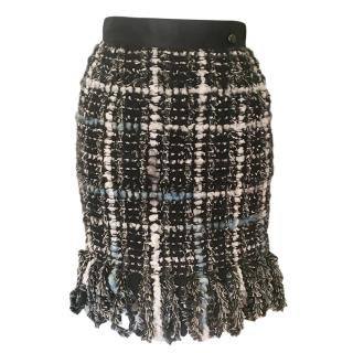 Chanel Tweed Boucle Satin Trimmed Skirt