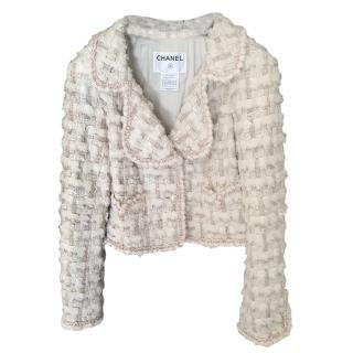 Chanel White Tweed Ecru Tailored Jacket