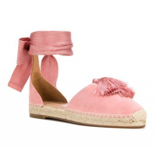 Aquazzura Pink Love Tassel ankle-tie espadrilles