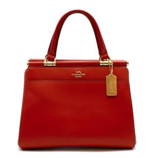 Coach Red Leather Tote Bag