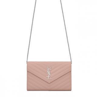 Saint Laurent pink envelope grain de poudre embossed leather bag