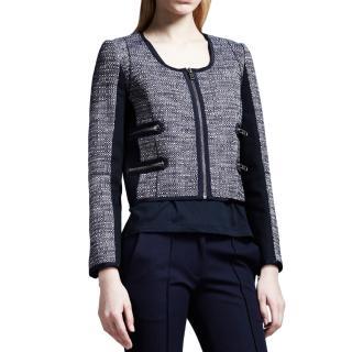Victoria Beckham navy zip detail tweed jacket