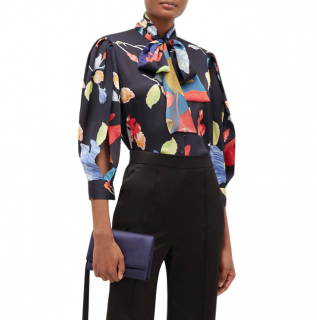 Peter Pilotto Floral-print silk-blend seersucker blouse