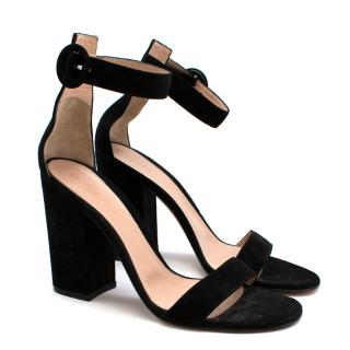 Gianvito Rossi Black Suede Peep Toe Sandals