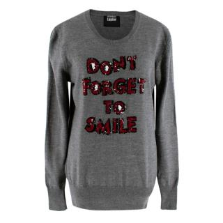 Markus Lupfer 'Don't Forget To Smile' Grey Merino Wool Jumper