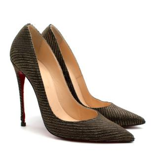 Christian Louboutin 120 Metallic 'So Kate' Canvas Pumps