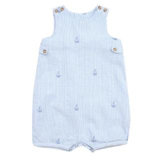 Thomas Brown Blue Striped Sailboat Smocked Romper