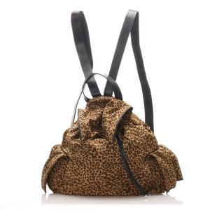 Bottega Veneta Leopard Print Nylon Backpack