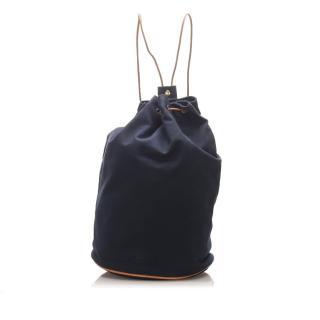 Hermes navy canvas Polochon Mimile backpack