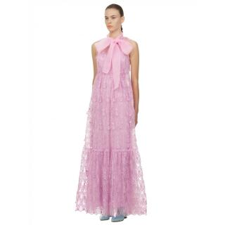 Self Portrait Lilac/Pink  Teardrop Sleeveless Lace Maxi Dress