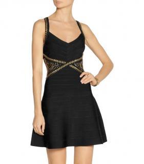 Herve Leger black bandage fit and flare dress