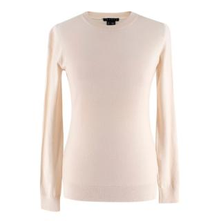 Theory Wool Blend Cream Round-Neck Jumper