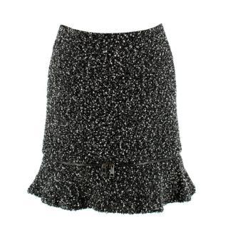 Karl Lagerfeld Boucle Tweed Effect Zip Hem Skirt