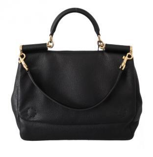 Dolce & Gabbana Sicily black leather top handle bag