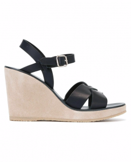 A.P.C Juliette navy leather wedge sandals