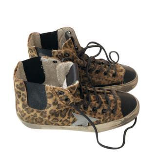 Golden Goose leopard print suede V-Star hi-top trainers