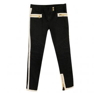 Balmain monochrome black denim biker jeans