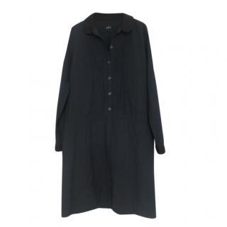 A.P.C navy cotton blend knee-length dress