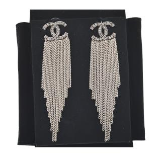 Chanel silver chain tassel crystal drop earrings