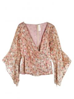 Peter Pilotto square patterned v-neck silk blouse