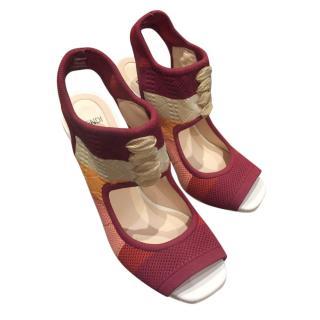 Fendi burgundy colour-block lace-up heeled sandals