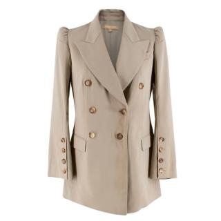 Michael Kors Collection Beige Double Breasted Blazer