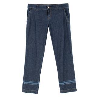 Gucci Indigo Cuff Stripe Jeans