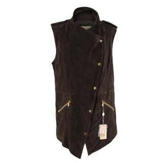 Michael Kors Brown Suede Asymmetric Sleeveless Jacket