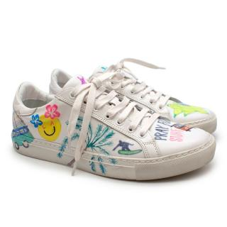 Mira Mikati Handpainted Surf Graffiti Leather Trainers