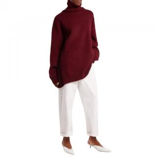 Raey over-sized maroon wool roll-neck jumper