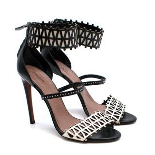 Alaia Stiletto Black & White Laser Cut Sandals