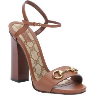 Gucci Lifford brown leather horsebit platform sandals