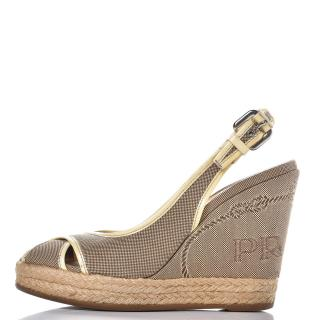 Prada jacquard logo wedge yellow trim sandals