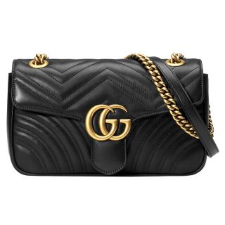 Gucci small leather black matelasse Marmont bag