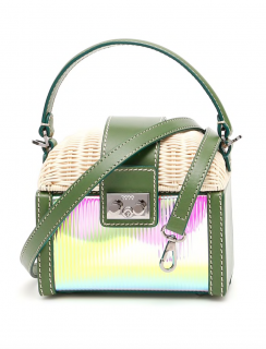 Rodo iridescent pvc leather & wicker mini bag
