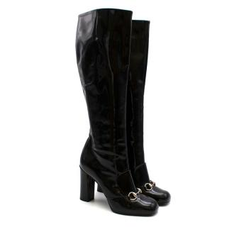 Gucci Lillian Horsebit Black Patent Heeled Boots