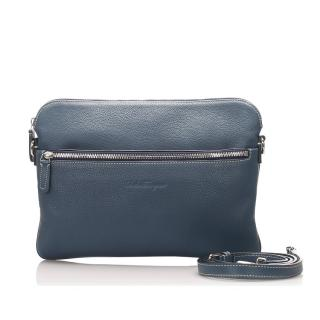 Salvatore Ferragamo Blue Leather Clutch Bag