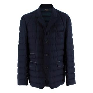 Loro Piana Navy Blue Cashmere Puffer Coat