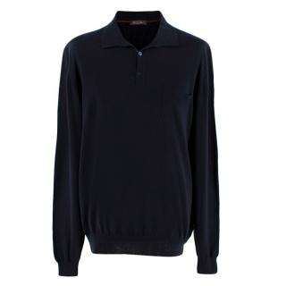 Loro Piana Mens Navy Cashmere Polo Top
