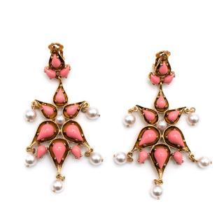 Oscar De La Renta Gold Tone Faux Pearl & Enamel Drop Clip-On Earrings