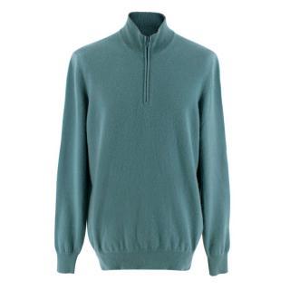 Brunello Cucinelli Mens Cashmere Green Polo Shirt