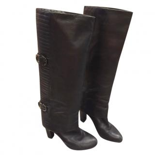 Sergio Rossi black leather knee boots